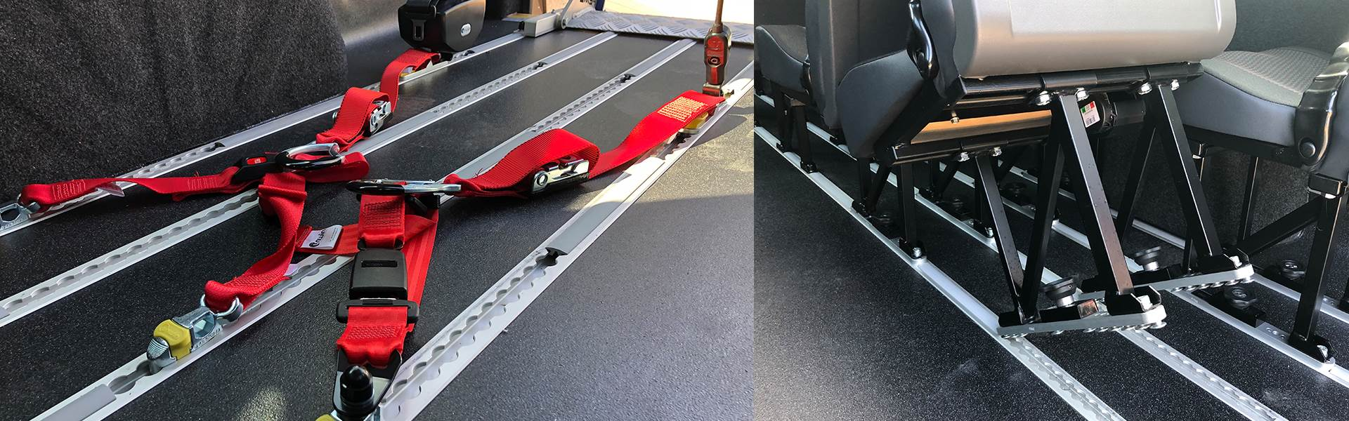 Minibus Conversion with Restraints for Wheelchairs